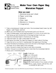 make your own paper bag manatee puppet lesson plan for 5th 6th