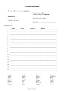 Home And Hobbies Worksheet