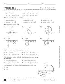 Circles in the Coordinate Plane Worksheet