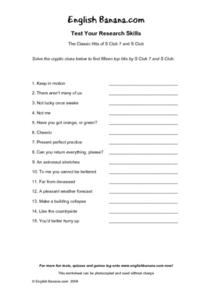 The Classic Hits of S Club 7 and S Club- Test Your Research Skills Worksheet