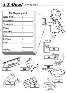 A/B Shopping List Worksheet