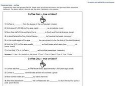 Passives Quiz-- True Or False : Coffee Worksheet