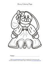 Bunny Coloring Page Worksheet
