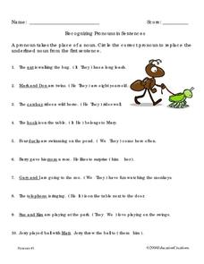 Recognizing Pronouns Worksheet
