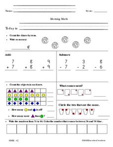 Morning Math and Homework Math Worksheet