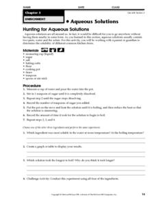 Hunting for Aqueous Solutions Worksheet