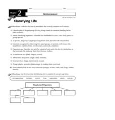 Classifying Life Worksheet