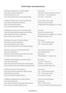 World Cultures International Party Worksheet