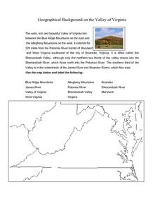 Geographical Background on the Valley of Virginia Lesson Plan