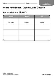 What Are Solids, Liquids, and Gases? Worksheet