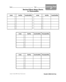 Decimal Place-Value Charts to Thousandths Worksheet