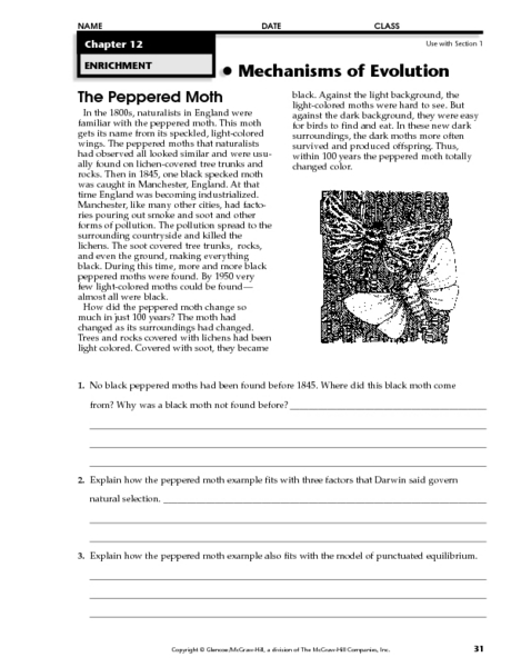 The Peppered Moth Worksheet for 7th - 12th Grade | Lesson Planet