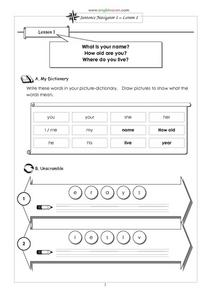 Sentence Navigator 1 – Lesson 1 Worksheet