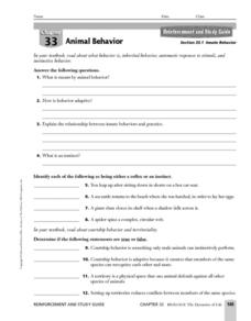 Innate Behavior Worksheet