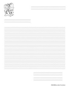 Garden Letter Writing Paper With Primary Lines Worksheet