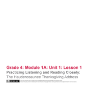 Practicing Listening and Reading Closely: The Haudenosaunee Thanksgiving Address Lesson Plan