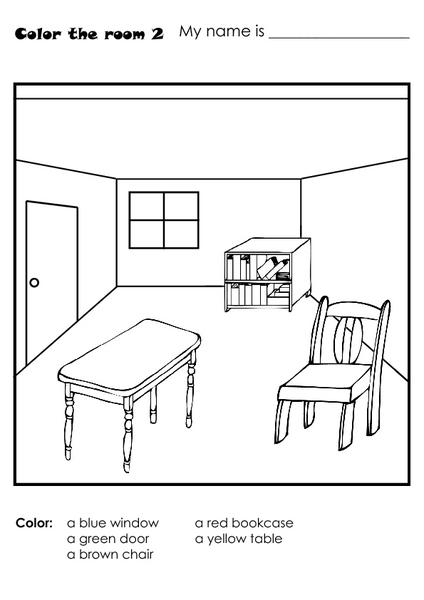 House Room Coloring Page: Color The Room-2 Worksheet For Kindergarten