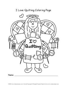 Quilting Coloring Page Worksheet