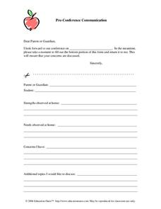 Pre-Conference Communication Worksheet