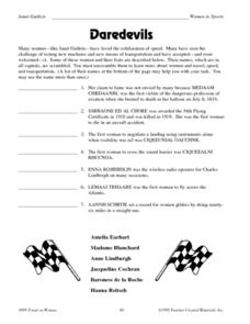 Daredevils Worksheet