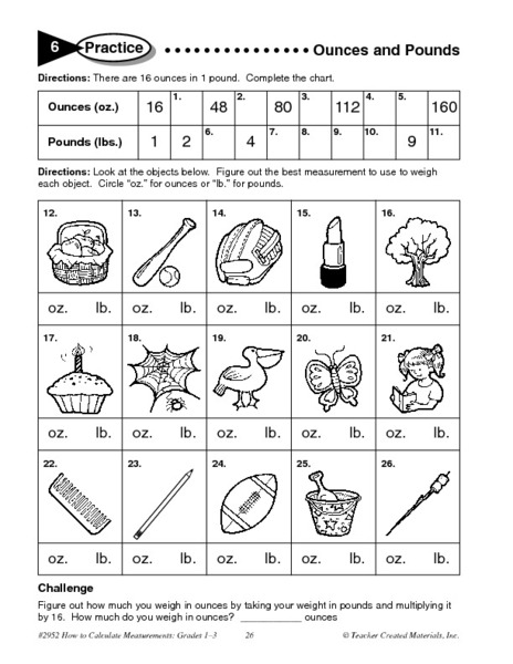 Ounces And Pounds Worksheet for 3rd - 4th Grade | Lesson Planet