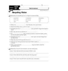 Recycling Water Worksheet
