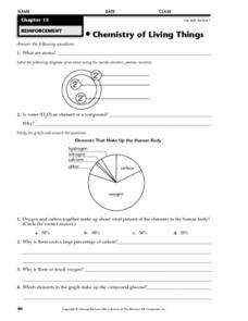 Chemistry of Living Things Worksheet