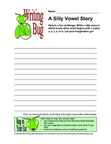 Writing Bug - A Silly Vowel Story Worksheet