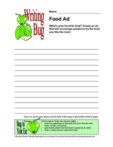 Writing Bug - Food Ad Worksheet