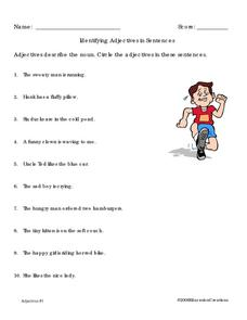 Identifying the Adjectives Worksheet