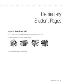 Elementary Student Pages Lesson 1: What About You? Worksheet