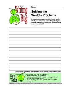 Writing Bug - Solving the World's Problems Worksheet