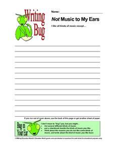 Writing Bug - Not Music to My Ears Lesson Plan