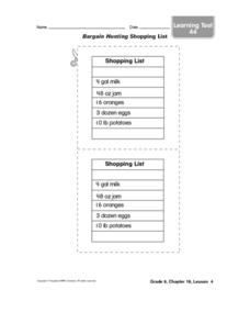 Bargain Hunting Shopping List Worksheet