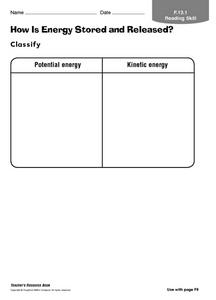 How is Energy Stored And Released? Worksheet