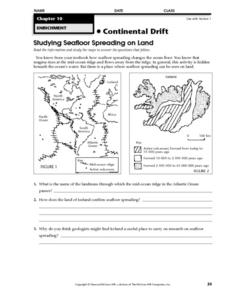 Studying Seafloor Spreading on Land Worksheet