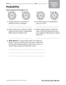 Probability Spinners Worksheet