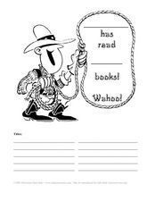 Cowboy Reading Log Worksheet