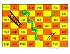 Snakes and Ladders Game Board- Short Vowel Words Worksheet