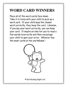 Word Card Winners Worksheet
