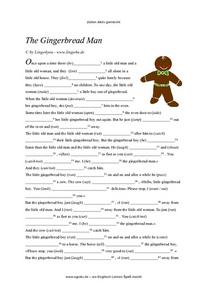 The Gingerbread Man --ELL Story with Missing Verbs Worksheet