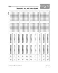 Hundreds, Tens and Ones Blocks Worksheet