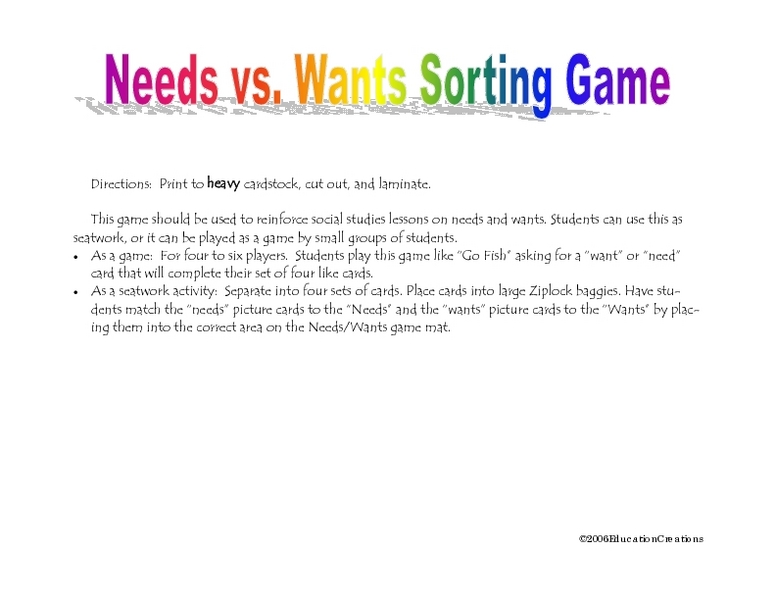 Needs Vs Wants Sorting Game Worksheet For 3rd 4th Grade
