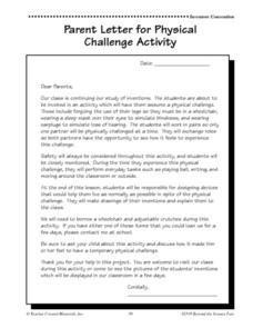 Physical Challenge Activity Cards and Parent Letter Worksheet