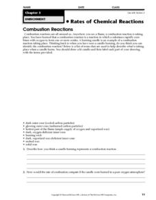 Rates of Chemical Reactions: Combustion Reactions Worksheet