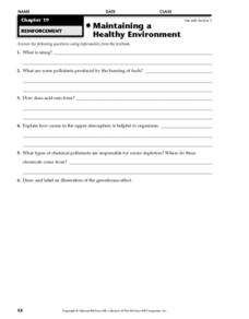 Maintaining a Healthy Environment Worksheet