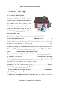 The Three Little Pigs-- ELL Adjective and Adverb Building Worksheet