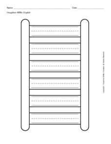 Ladder Shape with Primary Writing Lines Worksheet