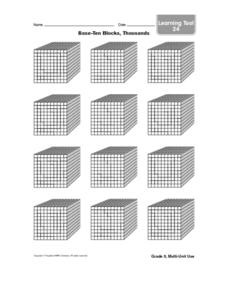 Base -Ten Blocks, Thousands Worksheet