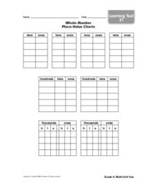 Learning Tool 21- Whole-Number Place-Value Charts Worksheet
